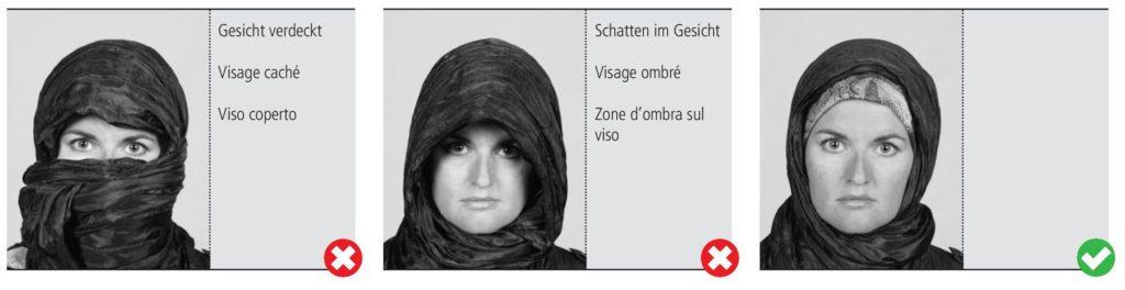 Le voile est autorisé sur une photo passeport et d'identité. Le voile ne doit pas caché le visage. Le visage ne doit pas être ombré.