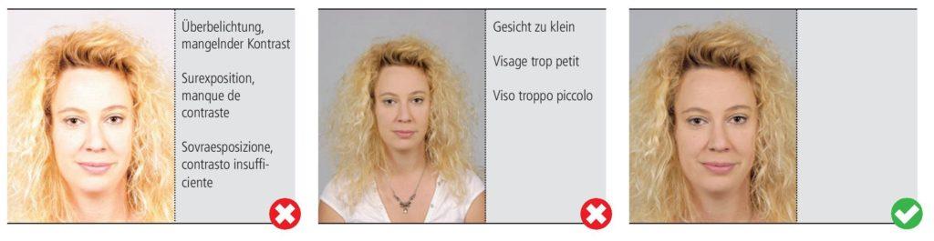 La photo d'identité et passeport doit être exposée correctement. Pas d'ombre visible (sur le visage ou en fond).