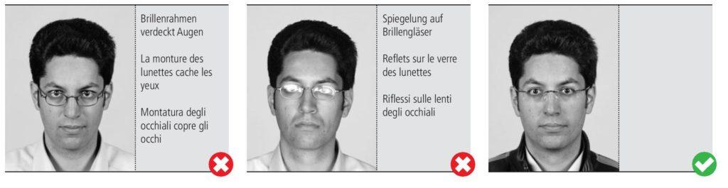 Il n'y a aucune obligation de porter des lunettes, mais si vous décidez de le faire, les lunettes ne doivent pas cacher les yeux et les reflets sont interdits.