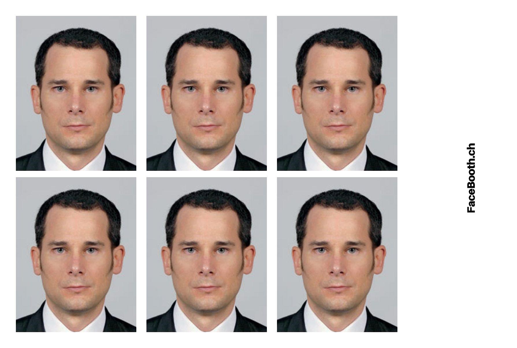 6 photos passeport générées avec notre système